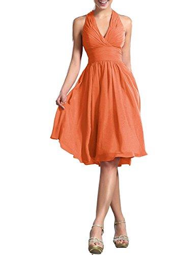 Mujer Sin Vestido Vkstar Naranja Para Mangas Hálter Cuello qYZxwag8
