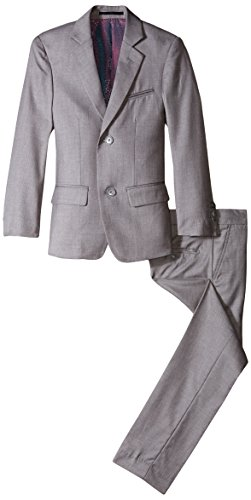(Isaac Mizrahi Big Boys' Slim Boys 2 Piece Cut Linen/Cotton Suit, Light Grey,)