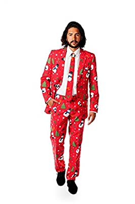 OppoSuits Mens Ugly Christmas Sweater Red Party Suit and Tie by