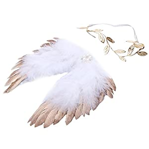Chinatera Newborn Angel Feather Wings Photography Props with Headband