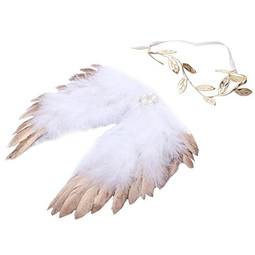 Chinatera Newborn Angel Feather Wings Photography Props with Crystal Leaves Headband (Gold)