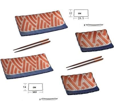 EatingBiting(R) 6pc Japanese Sushi Plate set Hand painting salmon 2 of 10Inch and 2 of 4Inch 4Plates 2 pair wooden chopsticks Sushi Classic salmon logo Exquisite craft elegant - Logo Sushi