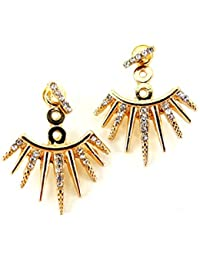 Affordable Jewelry Gold Spike Crystal Ear Jacket Double Sided Stud Back Front Earrings NEW Trend