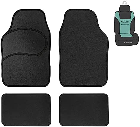 FH Group F13002 Universal Carpet Floor Mats with Colorful Stitching, Solid Black (for Cars, Coupes, Small SUVs)