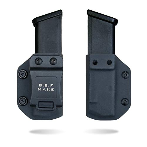 (B.B.F Make Single IWB/OWB Magazine Holster | Mag Carrier | Ambidextrous | Retired Navy Owned Company | Available Model: M&P Shield 9/40, Glock 4/90/365 (Black - Glock 9/40/357))