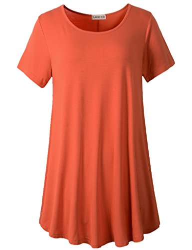 (LARACE Women Short Sleeves Flare Tunic Tops for Leggings Flowy Shirt (1X, Brick Red))