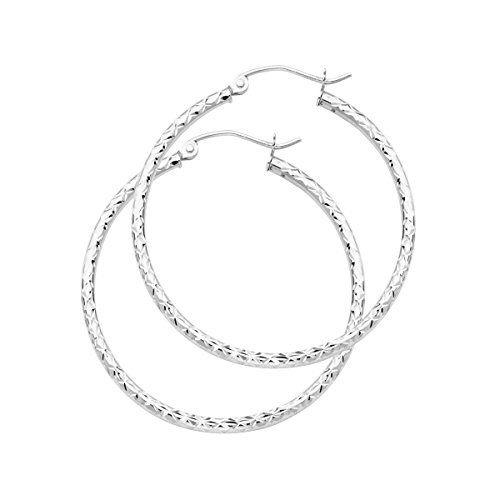 14K White Gold 1.5mm Hoop Earrings - 33/25/20/15mm (Diameter - 33 MM) by Top Gold & Diamond Jewelry