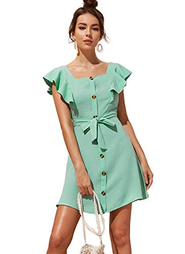 Milumia Women's Button Up Self Tie Square Neck Ruffle Cap Sleeve Belted Dress ()