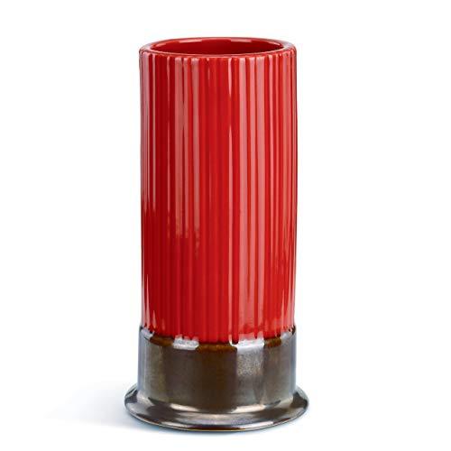 (Shotgun Shell Tall Glossy Red 6 x 3 Ceramic Stoneware Ridged Snifter Glass)