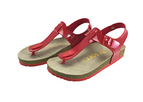 Julia Women Casual Buckle Thong Strap Sandals Flip Flop Platform Footbed Trends Shoes (6 US, Patent Red/Red)