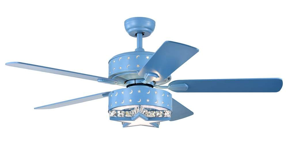 Home Accessories CFL-8404REMO/B Funder 52-inch Star & Crescent Childrens Room Lighted (Includes Remote) Ceiling Fan, One Size, Blue