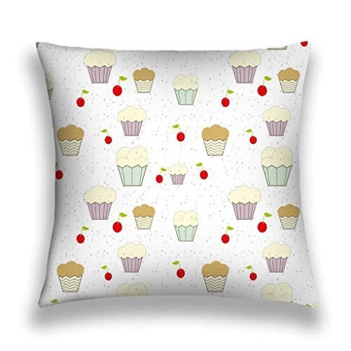 YILINGER Home Decor Throw Pillow Cover Pillow Case 18 x 18 Inch Cotton Velvet for Sofa Cupcakes Cherries Colored Chips Wallpaper White Color -