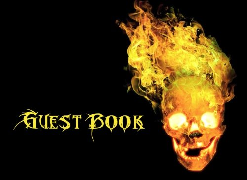 (Halloween Sign in Book: Scary Skull Adult Halloween Themed Guest Book, Yellow Design, 110 pages (Halloween Skull Guestbook) (Volume)