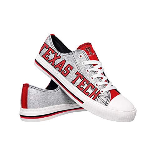 FOCO NCAA Texas Tech Red Raiders Womens Glitter Low Top Canvas ShoesGlitter Low Top Canvas Shoes, Team Color, 7/M