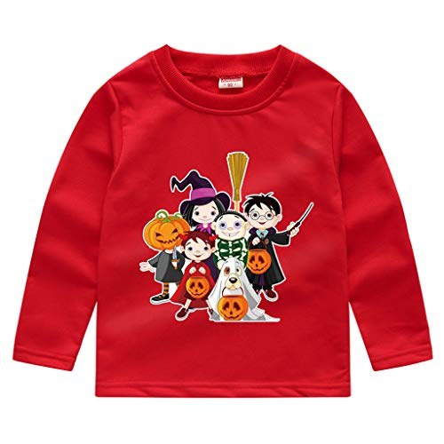 Toddler Kids Long Sleeve T-Shirt,Crytech Baby Boy Girls Trick Or Treat Pumpkin Ghost Skull Print Pullover Sweatshirt Halloween Theme Costume Fall Winter Tee Shirts (3-4 Years, Red)