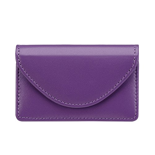 (FYY Handmade Premium Genuine Leather Business Name Card Case Universal Card Holder with Magnetic Closure (Hold 30 pics of Cards) Purple)
