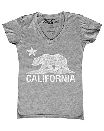 (Shop4Ever California Distressed White Bear Women's V-Neck T-Shirt Cali Shirts Small Sports Grey 0)