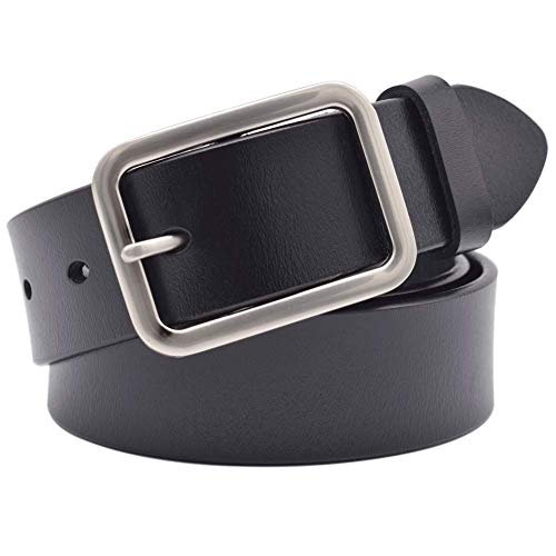 Vonsely Wide Leather Womens Belts for Jeans, Unisex Square Buckle Belts for Men and Women (Leather Square Buckle Belt)