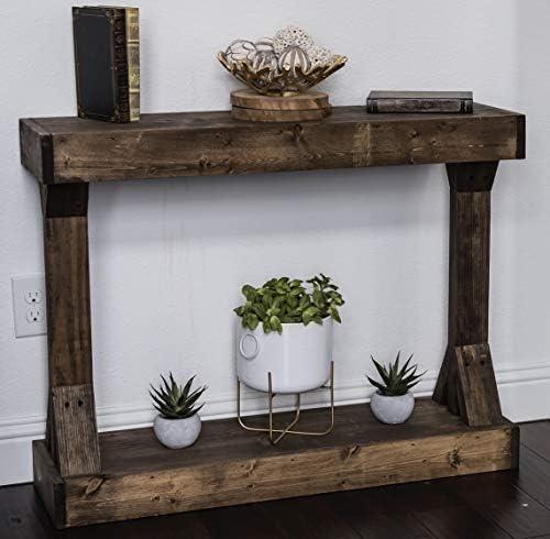 Barb Small Console Table Solid Wood by Del Hutson Designs Dark Walnut