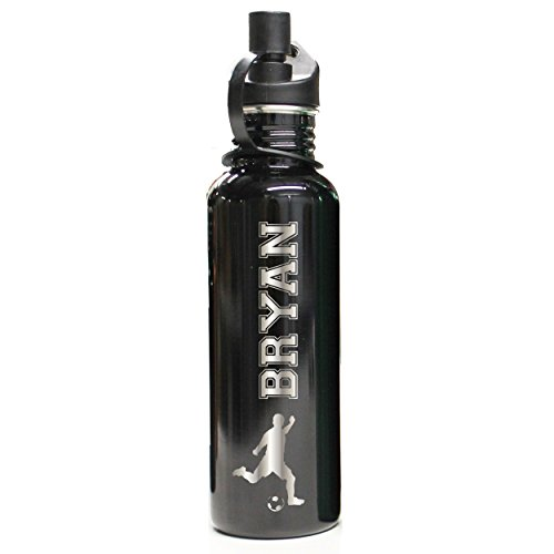 Custom Engraved Sports Stainless Steel Water Bottle - Personalized Gifts for Kids, Boys and Girls (Black)