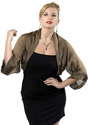 Silk Chiffon Bolero. Cropped Jacket. Evening Formal Wear (M-L, 0.513 Bronze - Black)