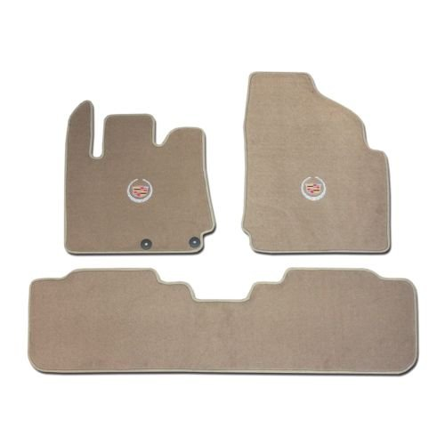 (Cadillac SRX 3 Pc (2 Fronts / Rear Runner) Tan (Beige) Custom Fit Carpet Floor Mat Set with Cadillac Crest Logo on fronts - Fits 2010 11 12 13 14 15)
