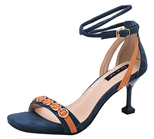 Open Toe Buckle Ankle Strap Colors Block Kitten Heels Dress Shoes Sandals (Blue, 7 M US) ()