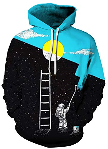 BarbedRose Unisex 3D Galaxy Moon Print Graphic Sweatshirt Hooded with Pockets,Astronaut Space ()