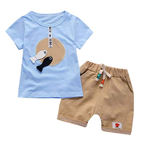Qpika Toddler Baby Kids Boys Cartoon 2PCS Short Seleeve Fish Tops + Shorts Pants Set for $<!--$0.99-->