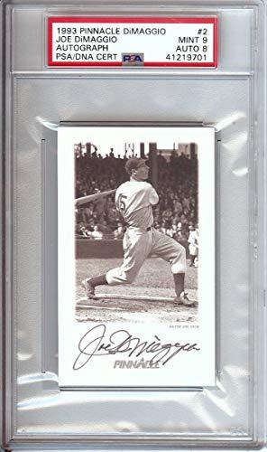 (Joe DiMaggio 1993 Pinnacle Auto Autograph Graded PSA Mint 9 Yankees #2 0458)