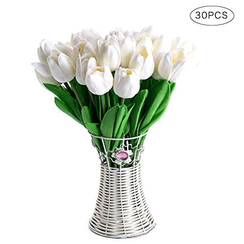 CCINEE Decora 30pcs Real Touch Tulips White PU Tulips Artificial Flowers for Wedding Home Centerpiece Decoration ()