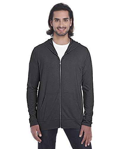 Anvil Tri-Blend Adult Full Zip Jacket, Heather Drk Grey, XXX-Large