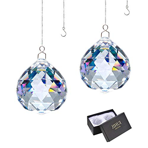 Rainbow Window - JIHUI Suncatcher Crystals Ball Prism Window Rainbow Maker with Chain for Easy Hanging 40mm 2 Pack