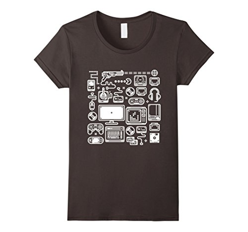 Womens Video Game T-Shirt: 8-bit Retro Gaming Accessories Medium Asphalt