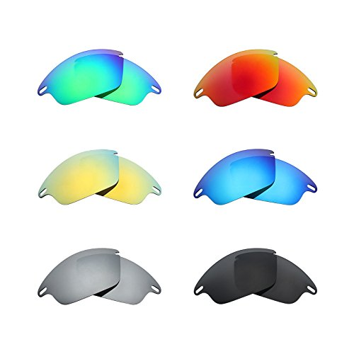 Mryok 6 Pair Polarized Replacement Lenses for Oakley Fast Jacket Sunglass - Stealth Black/Fire Red/Ice Blue/Silver Titanium/Emerald Green/24K Gold by Mryok