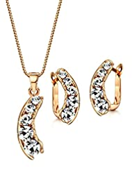 Neoglory Jewelry Rose Gold Plated Clear Rhinestones Crescent Moon Pendant Necklace Clip on Earrings Set