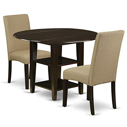 East West Furniture SUDR3-CAP-03 3Pc Dinette Set Includes a Rounded 20/42 Inch Dining Table with Drop Leaves and 2 Parson Chair with Cappuccino Finish Leg and Linen Fabric- Brown Color, (Set Dining Drop Table Leaf)