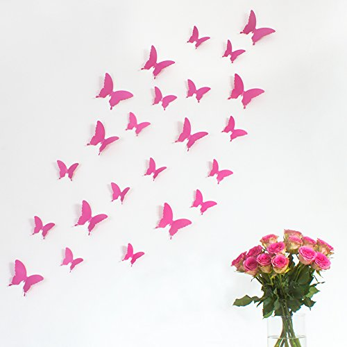 Wandkings 3D-10798 Schmetterlinge im 3D-Style, 12-Stück, Wanddekoration mit Klebepunkten zur Fixierung, pink