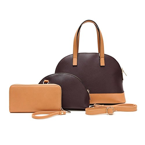 [Top 3 Piece Brown Leather Like Convertible Travel Makeup Case Handle Handbag Bowling Purse 2 in 1 Bag in Bag Best Pouch & Wallet Great Mother Day Nurse College Graduation Gift Idea for Women Her] (Western Day Dress Up Ideas)