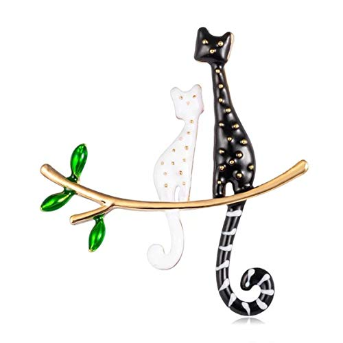 Scarlvambo Women's Party Brooch Pin Cute Cat Animal Gold-Tone Black White Enemal