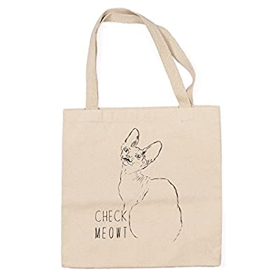 Check Meowt Cat Heavy Duty 100% Cotton Canvas Tote Shopping Reusable Grocery Bag 14.75 x 14.75 x 5