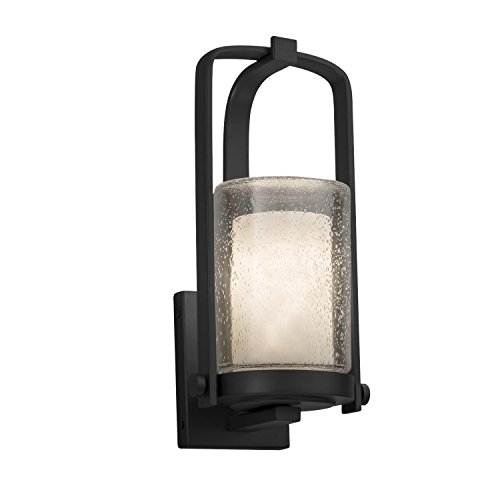(Clouds - Atlantic Small Outdoor Wall Sconce - Cylinder with Flat Rim Clouds Shade - Matte Black Finish - LED)