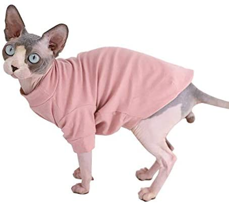 Sphynx Hairless Cat Cotton Tshirts Pet Clothes, Pullover Kitten T-Shirts with Sleeves, Cats & Small Dogs Apparel Solid Color 17