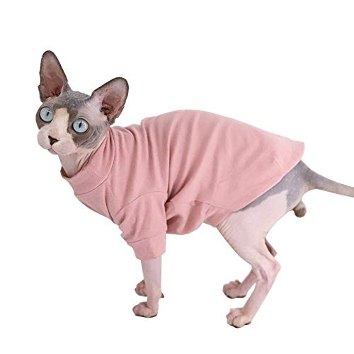 Sphynx Hairless Cat Cotton Tshirts Pet Clothes, Pullover Kitten T-Shirts with Sleeves, Cats & Small Dogs Apparel Solid Color (L (8.8-11 lbs), Pink)
