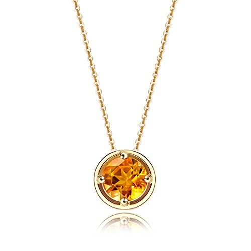 Carleen Solid 14K Yellow Gold Birthday Round Gemstone November Solitaire Citrine Birthstone Necklace Pendant Delicate Dainty Fine Jewelry For Women Girl, 18 inch