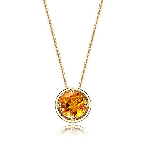 Carleen Solid 14K Yellow Gold Birthday Round Gemstone November Solitaire Citrine Birthstone Necklace Pendant Delicate Dainty Fine Jewelry Women Girl, 18 inch