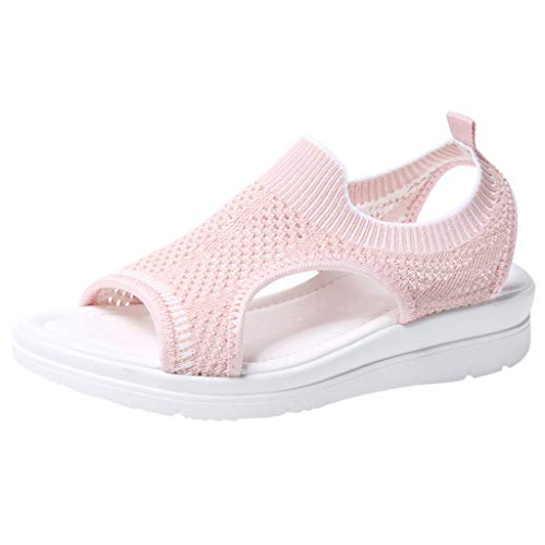 Slip On Walking Shoes,ONLY TOP Women's Mesh Breathable Sandals Lace-Up Running Open Toe Sneakers Pink ()