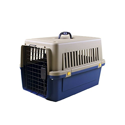 Luxurious Thicken Top-Load Pet Kennel Dogs Carrier Crate with Door Lock & Lockable Universal Wheels Portable Airline Approved Deep Blue – up to 22 lbs 503432cm