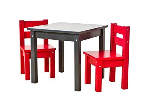 Hoppekids bunte Kindersitzgruppe MADS: Tisch anthrazit, Stühle rot, 1 Tisch, 2 Stühle