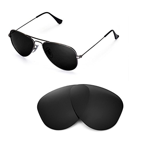Walleva Replacement Lenses for Ray-Ban Aviator RB3044 Small Metal 52mm Sunglasses - Multiple Options Available(Black - Polirazed) (Metal Rb3044 Small)